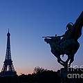 The Eiffel Tower And Joan Of Arc Statue  At Sunrise by Oscar Gutierrez