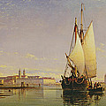 The Euganean Hills And The Laguna Of Venice - Trabaccola Waiting For The Tide Sunset by Edward William Cooke