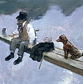 The Fisherman, Detail Of A Man Fishing by Jean Louis Forain