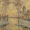 The Fishermens Chapel Under Snow by Henri Duhem