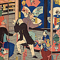 The Five Nations Enjoying A Drunken Revel At The Gankiro Tea House by Utagawa Yoshiiku