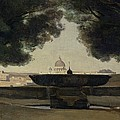 The Fountain Of The French Academy In Rome, 1826-27 Oil On Canvas by Jean Baptiste Camille Corot