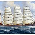 The Four-masted Barque Cedarbank At Sea Under Full Sail by Pablo Romero