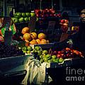 The Fruit Seller - New York City Street Scene by Miriam Danar