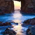 The Gateway - Sunset On Arch Rock In Pfeiffer Beach Big Sur In California. by Jamie Pham