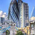 The Gherkin And Tower Bridge by David Pyatt