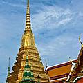 The Golden Chedis At Grand Palace Of Thailand In Bangkok by Ruth Hager