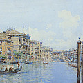 The Grand Canal With A View Of Palace by Gino de Colle