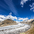 The Great Aletsch Glacier And Deep Blue Sky by Matthias Hauser