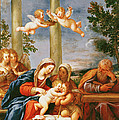 The Holy Family With St. Elizabeth And St. John The Baptist, C.1645-50 Oil On Copper by Francesco Albani