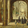The Interior Of A Gothic Church Looking East by Hendrick van Steenwijck the Younger