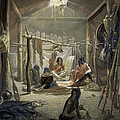 The Interior Of A Hut Of A Mandan Chief by Karl Bodmer