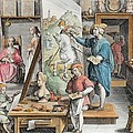 The Invention Of Oil Paint, Plate 15 by Jan van der Straet