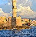 The Lighthouse From Chania Venetian Harbor Crete Greece