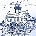 The Lines Of East Point Light In Blue by Nancy Patterson