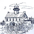 The Lines Of East Point Lighthouse In Blue 2 by Nancy Patterson