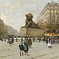 The Lion Of Belfort Le Lion De Belfort by Eugene Galien-Laloue