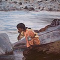 Little Girl And Ganga River by Mila Kronik