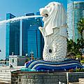 The Merlion  Fountain - Singapore. by Luciano Mortula