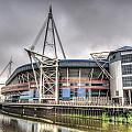 The Millennium Stadium With Flag by Steve Purnell
