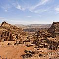 The Monastery And Landscape At Petra In Jordan by Robert Preston