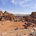 The Monastery Sculpted Out Of The Rock At Petra In Jordan by Robert Preston