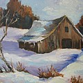 The Old Barn In Winter by Sharon Franke