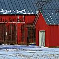 The Old Red Barn In Winter by Dan Sproul
