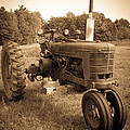 The Old Tractor Sepia by Edward Fielding