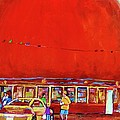 The Orange Julep Montreal Summer City Scene by Carole Spandau