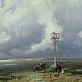 The Passage Du Gois At Noirmoutier, 1859 Oil On Canvas by Prosper Barbot