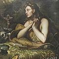 The Penitent Magdalene By Domenico Tintoretto by Roberto Morgenthaler
