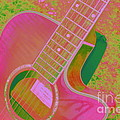 My Pink Guitar Pop Art by Dora Sofia Caputo Photographic Design and Fine Art