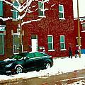 The Point Pointe St Charles Snowy Walk Past Red Brick House Winter City Scene Carole Spandau by Carole Spandau