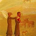 The Rabbi Leading The Angel by Israel Tsvaygenbaum