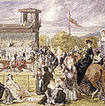 The Races At Longchamp In 1874 by Pierre Gavarni
