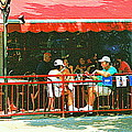 The Red Awning Cafe On St. Denis - A Shady Spot To Enjoy A Cold Beer On A Very Hot Sunday In July by Carole Spandau