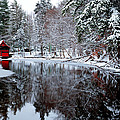 Red Boathouse On Beaver Brook by David Patterson