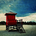 The Red Lifeguard Shack by Sandra Selle Rodriguez