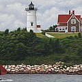 The Red Sail  Nobska Lighthouse Cape Cod by Julia O'Malley-Keyes