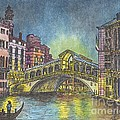 Relections Of Light And The Rialto Bridge An Evening In Venice  by Carol Wisniewski