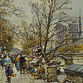 The Rive Gauche Paris With Notre Dame Beyond by Eugene Galien-Laloue
