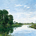 The River Touques At Saint-arnoult by Eugene Boudin