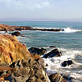 The Rocky Coastline Meets The Ocean by Elaine Plesser