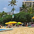 The Scene At Waikiki Beach by Michele Myers