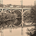 The Schuylkill River And Manayunk Bridge In Sepia by Bill Cannon
