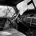 The Seat Of An Old Truck In Black And White by Greg Mimbs