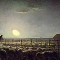 The Sheepfold   Moonlight by Jean Francois Millet