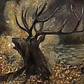 the Stag sitting in the grass oil painting by Angel Ciesniarska