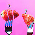 The Star On Strawberry Miniature Art by Paul Ge